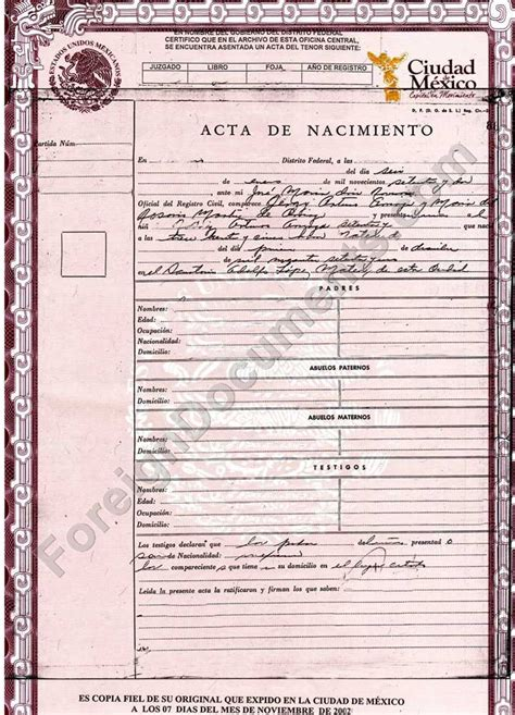 translation of mexican birth certificate to template best photos of certificate templates