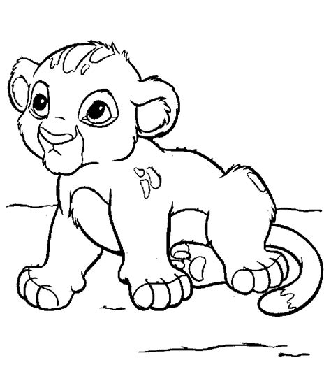 coloring page lion cub cute lion cub animals coloring pages kids coloring pages