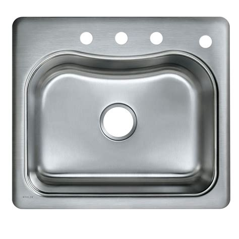 kohler drop in sinks kohler staccato drop in stainless steel 25 in 4 hole