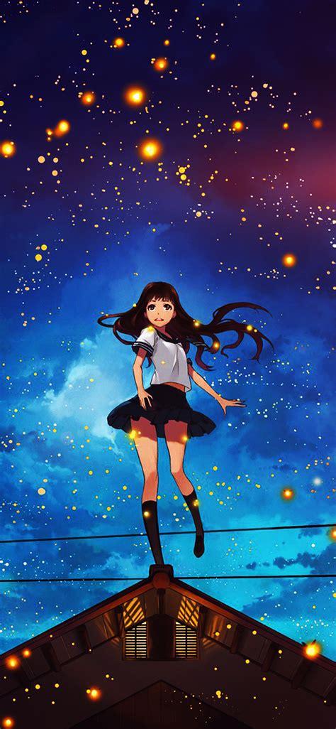 girl anime star space night iphone  wallpaper