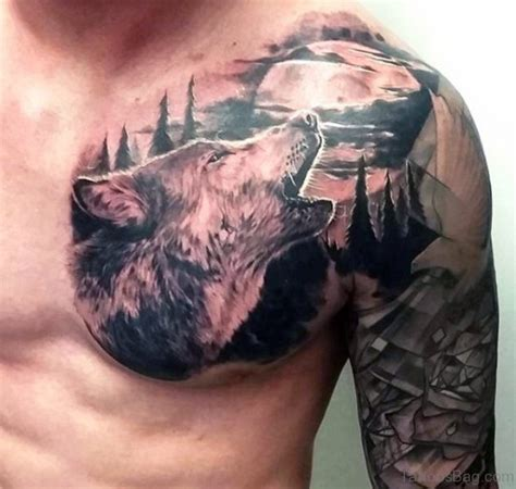 Tattoo Chest Wolf | 80 superb alpha wolf tattoos for men
