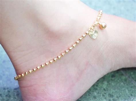 Gelang Kaki Biji Lada Emas Kuning jual gelang kaki bulat biji lada lapis emas xuping