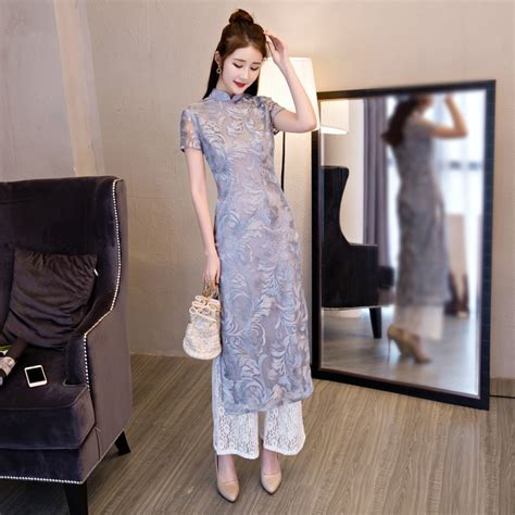 Traditional Tang Costume Vietnam style Ao dai qipao dress