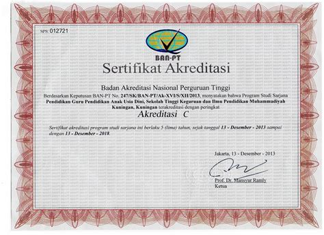 sertifikat akreditasi program studi stkip muhammadiyah