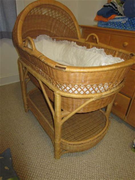 Wicker Baby Cribs by Vintage Wicker Bassinet Folding Wood Legs On Wheels
