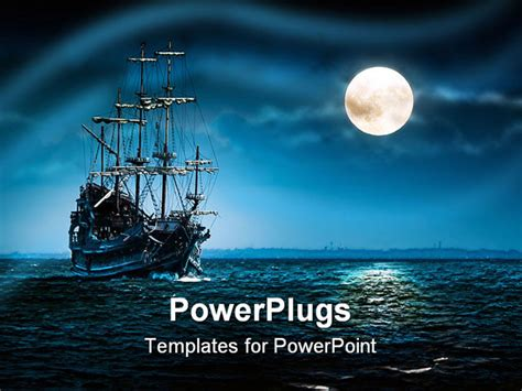 powerpoint themes ships sailing ghost ship on the high seas in the night flying