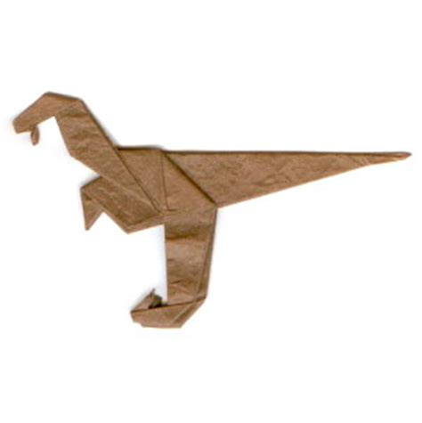 Velociraptor Origami - how to make a simple origami velociraptor page 13