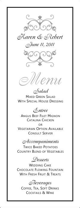 free printable menu card template wedding menu templates and easy menus for your