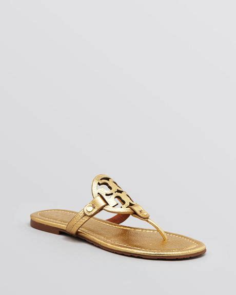 gold burch sandals burch flat sandals miller metallic in gold lyst