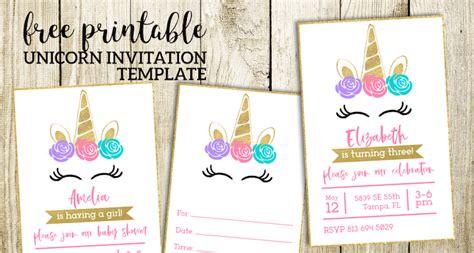 Free Printable Unicorn Invitations Template Paper Trail Design Unicorn Invitation Template Free
