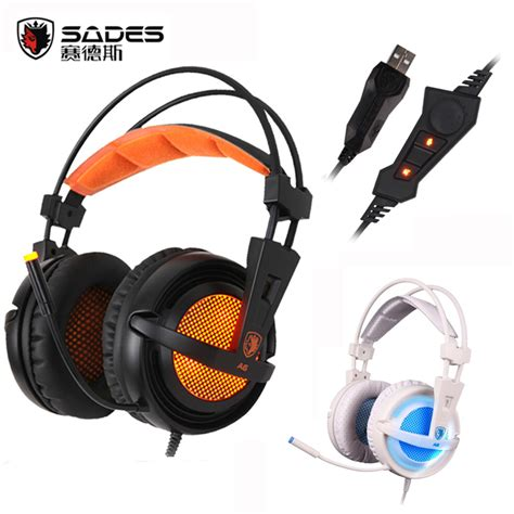 Headset Sades A6 sades a6 usb 7 1 surround sound usb stereo gaming headphones ear noise isolating breathing