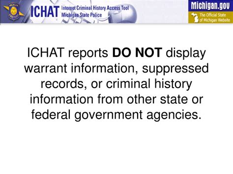 Michigan Criminal Records Ppt Welcome To The Ichat The Michigan State Criminal History Access