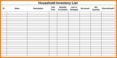 free inventory list template premium household inventory checklist template sle