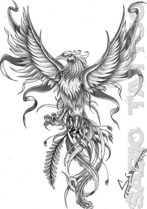 black and grey phoenix tattoo designs grey and white flying design