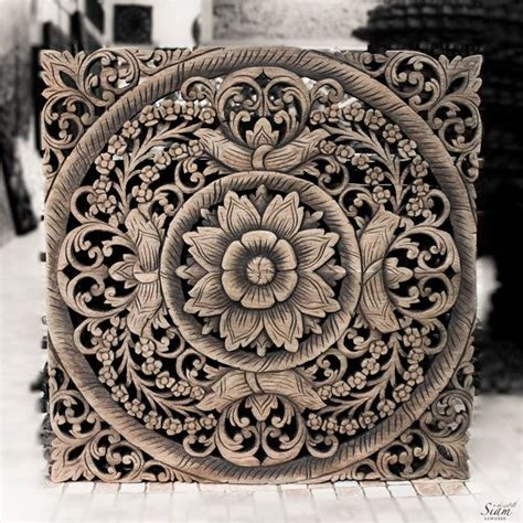 thai wooden wall panel wall hanging floral wood carved wall decor from thailand asian wall