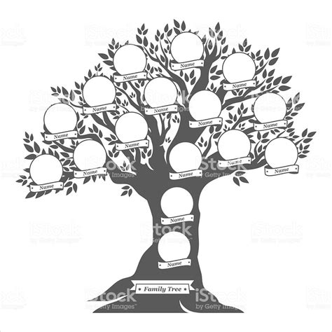 Hand Drawn Oak Tree Family Tree Stock Vector Art 487201750 Istock Stock Vector Family Tree Template With Portraits Of Relatives And Place For Text On Green