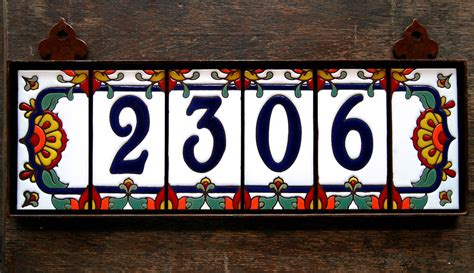 Handmade House Numbers - custom glazed 4 digit talavera tile by carlyquinndesigns