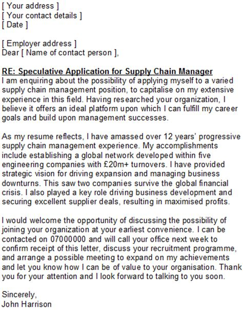 speculative application cover letter speculative covering letter sle