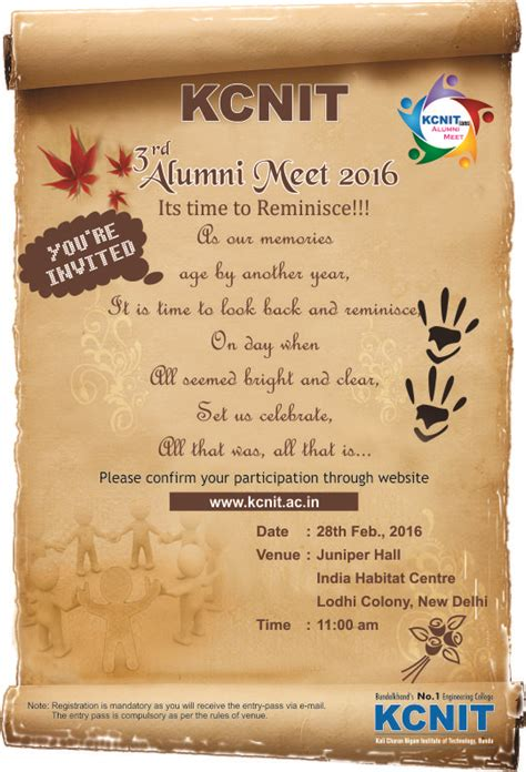 Invitation Letter Format For Alumni Meet Alumni Meet 28 Feb 2016 Kcnit