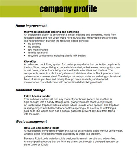 free business profile template sle company profile sle 7 free documents in pdf word