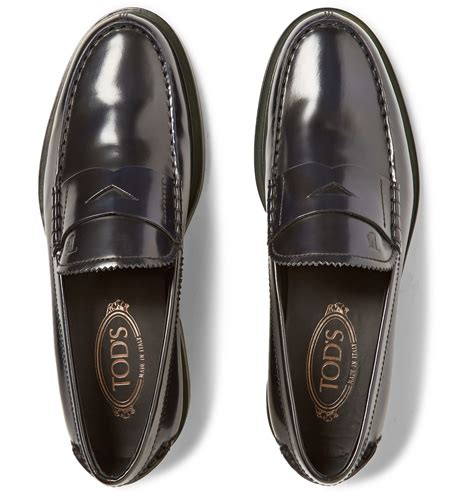 tods loafers mens lyst tod s polished leather loafers in black for
