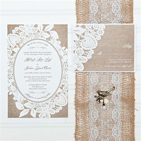 burlap and lace wedding invitation suite custom invites