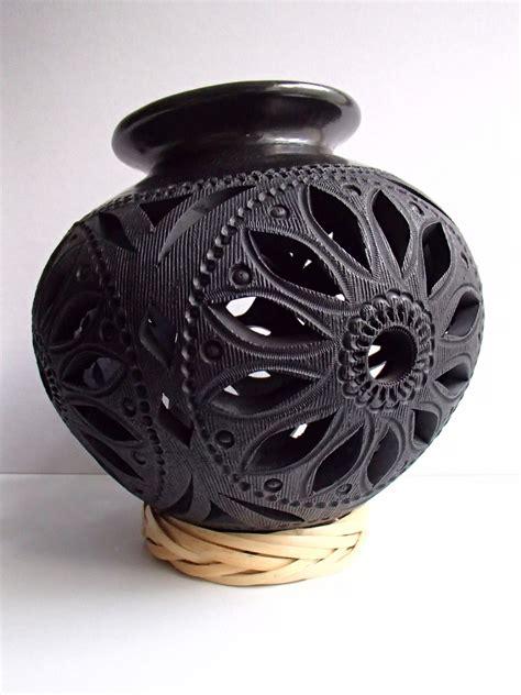 barro negro oaxaqueno bella olla cantaro grabado de flor  en mercado libre