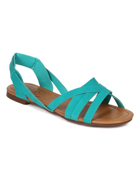 Two Slingback Flat Sandals - shoes breckelles ce96 leatherette two tone strappy