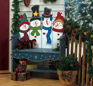 snowmen bench collection wood patterns