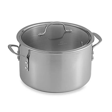 bed bath and beyond calphalon calphalon 174 tri ply stainless steel 8 qt stockpot with lid