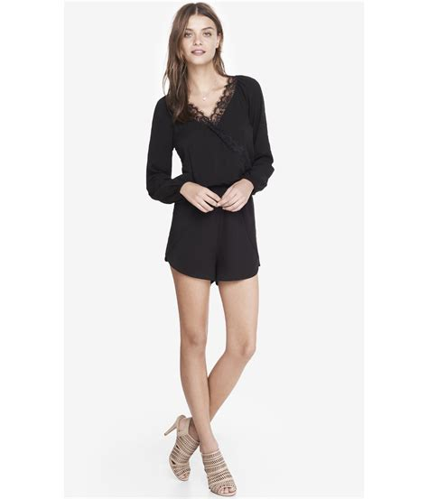 express sleeve lace trim surplice romper in black lyst