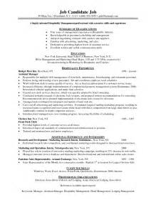 resume in hotel and restaurant management sales