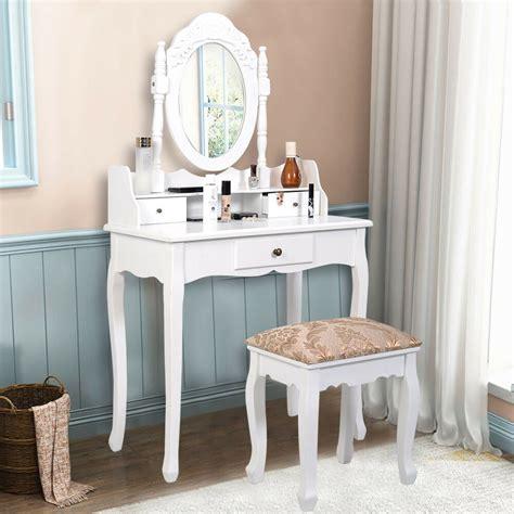 Vanity Con by Vanity Table Jewelry Makeup Desk Bench Dresser W Stool 3