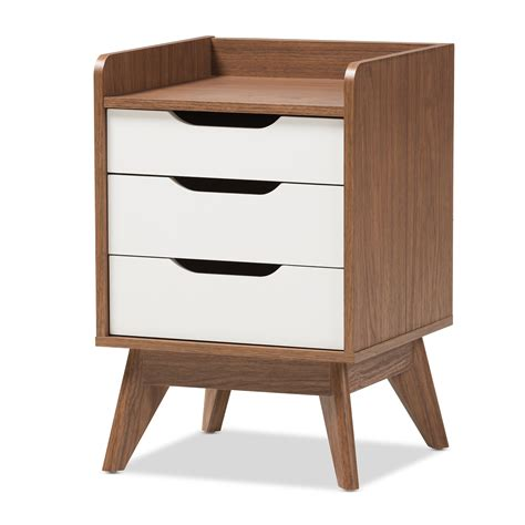 Baxton Studio Nightstand by Baxton Studio Brighton Mid Century Modern White And Walnut