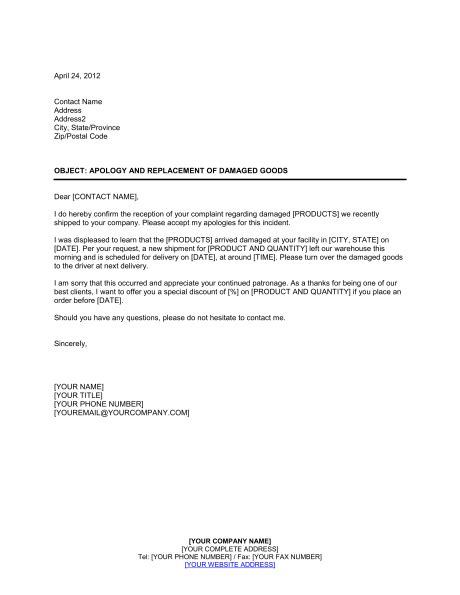 Complaint Letter Replacement Product apology and replacement of damaged goods template
