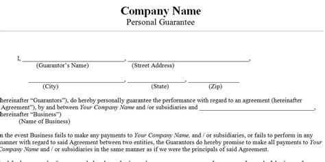 Guarantee Card Template by Are Business Credit Cards Personally Guaranteed Images