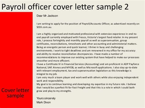 Accounts Officer Cover Letter by Payroll Officer Cover Letter