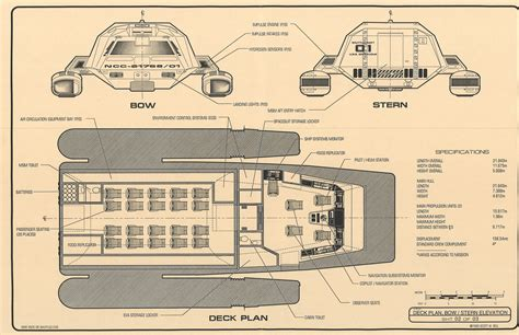Starship Floor Plans by Star Trek Blueprints Powell Class Long Range Warp Shuttle