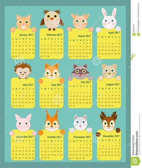 Calendario Animales 2017 Calendar For Animal Calendar 2017 12 Month