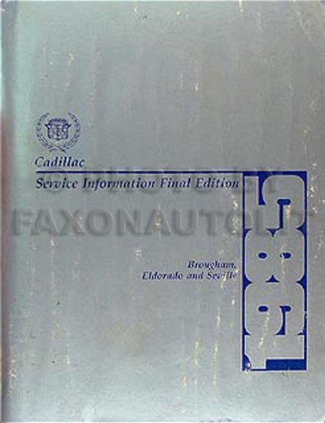 2001 cadillac eldorado repair shop manual original 2 volume set 1985 cadillac brougham eldorado and seville repair shop manual original