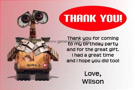 Wall E Thank You Cards