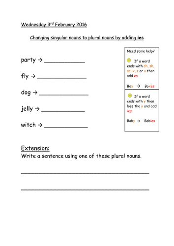 S Or Es Worksheet by Changing Singular Nouns To Plural Adding S Es Ies