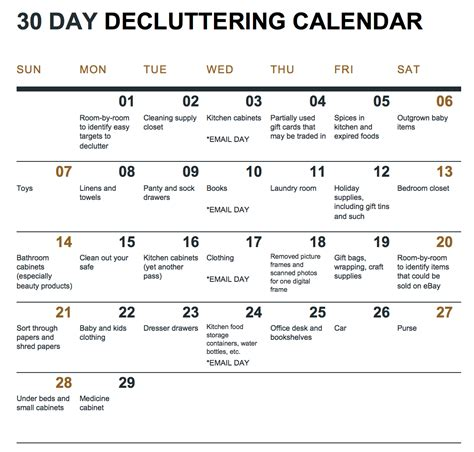 day schedule list a 30 day decluttering challenge with calendar and how