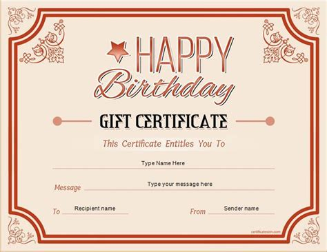 this certificate entitles you to template new gift