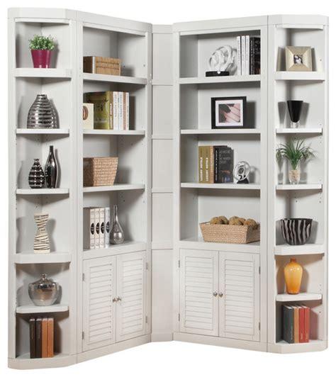 Contemporary Corner Bookcase Boca 5 Corner Bookcase Cottage White Finish
