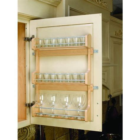 shop rev a shelf wood in cabinet spice rack at lowes com rev a shelf 4sr 21 door mount spice rack wood maple