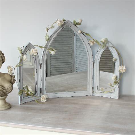 grey arched distressed mirror vanity bathroom
