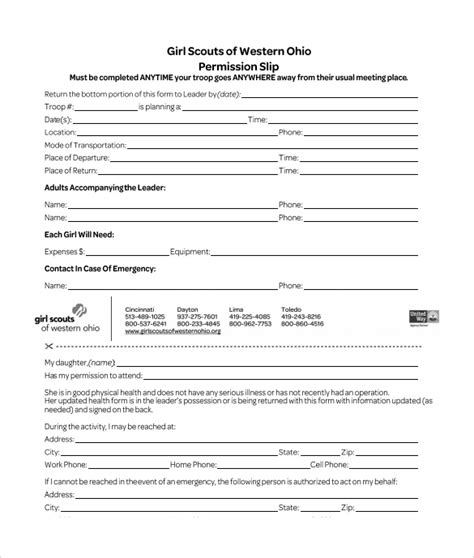 scout permission slip template permission slip template 14 free documents in