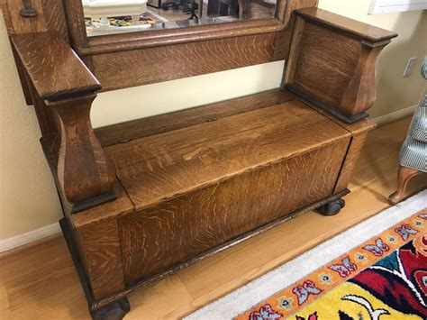 antique oak hall tree storage bench antique tiger oak hall tree with storage bench beveled
