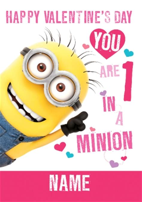 minion valentines day card one in a minion s card despicable me 2 funky